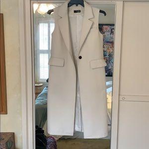 White wool blend maxi vest